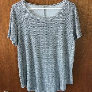 Maurice's gray and white top